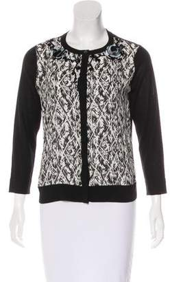 Magaschoni Silk Embellished Cardigan