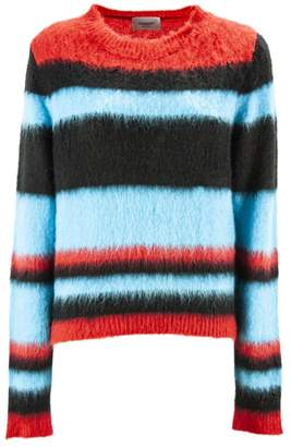 Dondup Striped Blend Mohair Crew-neck Pullover.