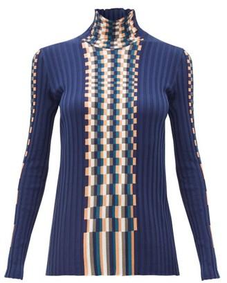 Loewe Graphic Woven Knit Cotton Sweater - Womens - Blue Multi