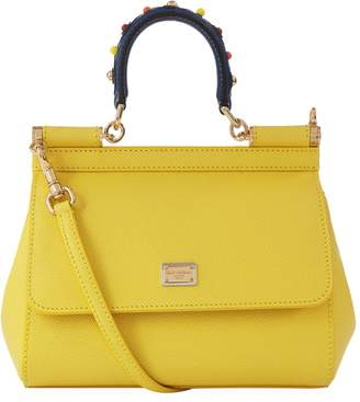 Dolce & Gabbana Medium Leather Appliqué Handle Sicily Bag