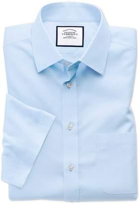 Charles Tyrwhitt Slim Fit Sky Blue Non-Iron Poplin Short Sleeve Cotton Dress Shirt Size 14.5/Short