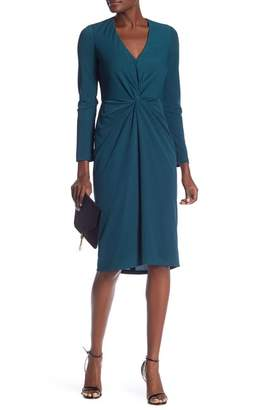 London Times Evening Crepe Knot Front Midi Dress