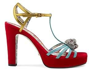 Gucci Women's Leather & Velvet Platform Sandals - Red