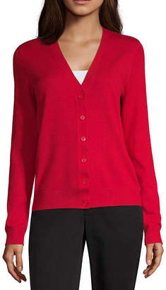 WORTHINGTON Worthington Womens V Neck Long Sleeve Button Cardigan