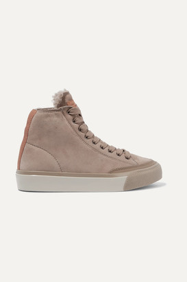 Rag & Bone Rb Shearling-lined Suede Sneakers - Taupe