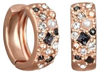 Karl Lagerfeld Scattered Swarovski Crystal Accented 10mm Huggie Hoop Earrings