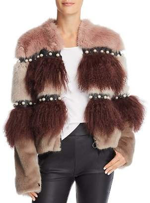 Urban Code Urbancode Embellished Color-Blocked Fur Coat