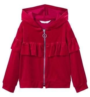 MANGO Ruffle velvet jacket