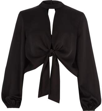 River Island Womens Black satin tie front long sleeve crop top
