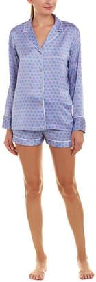 Natori 2Pc Honeycomb Satin Pajama Short Set