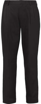 Dries Van Noten Phil Cropped Pleated Cotton And Linen-Blend Twill Trousers