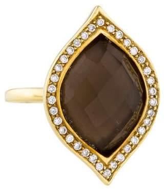 Elizabeth Showers 18K Diamond, Quartz & Mother of Pearl Doublet Ring