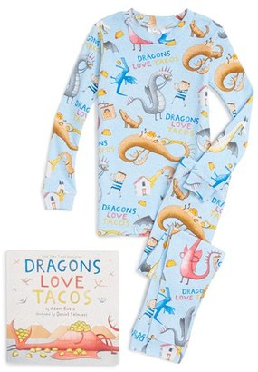 Toddler Books To Bed Dragons Love Tacos Fitted Two-Piece Pajamas & Book Set $50 thestylecure.com
