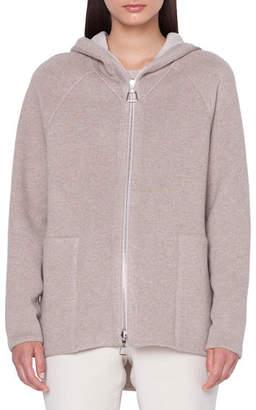Akris Vanda Reversible Zip-Front Wool-Cashmere Hoodie