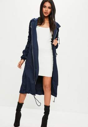 Navy Ruched Sleeve Longline Parka Coat $80 thestylecure.com