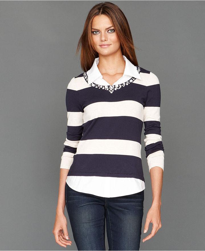 INC International Concepts Petite Sweater, Long-Sleeve Rhinestone Striped Layered