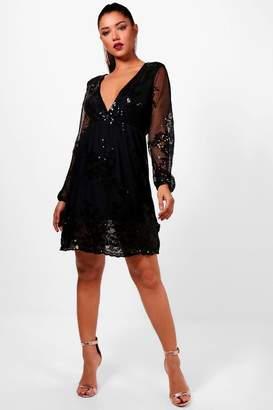boohoo Boutique Embellished Mesh Skater Dress