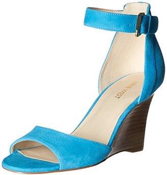 Nine West Women's Farlee Faux-Suede Wedge Sandal $89 thestylecure.com