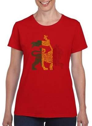 "Los Angeles Pop Art Women's ""Rasta Lion "" T-Shirt"