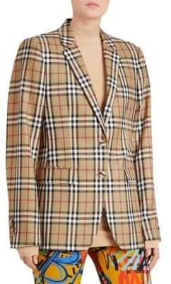Burberry Snowdon 2B Check Oversized Blazer