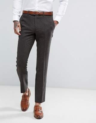 Moss Bros Skinny Suit Pants In Brown Tweed
