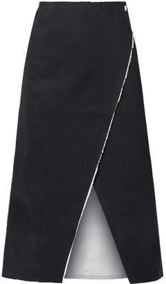 Simon Miller Mackie Frayed Denim Wrap Midi Skirt - Black