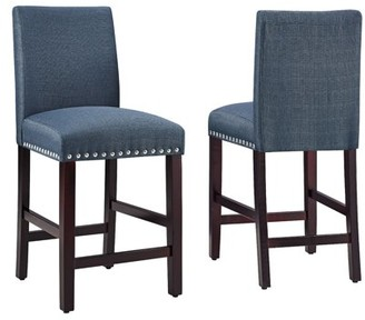 DHI Nice Nail Head Upholstered Counter Stool (2PK), Multiple Colors