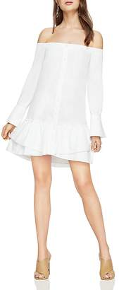 BCBGMAXAZRIA Aiyana Off-the-Shoulder Flounce-Hem Shirt Dress $198 thestylecure.com
