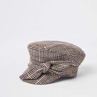 River Island Womens Brown check print bow baker boy hat