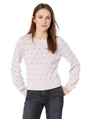 Milly Women's Knit Long Pouf Sleeve Crew Neck Pearl Sweater