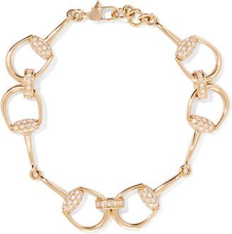 Gucci - 18-karat Gold Diamond Horsebit Bracelet - one size $8,990 thestylecure.com