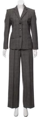Max Mara Wool Plaid Wide-Leg Pantsuit