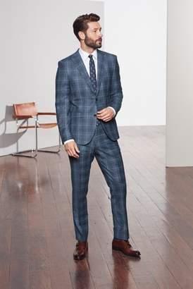 Next Mens Bright Blue Slim Fit Marzotto Signature Check Suit: Trouser