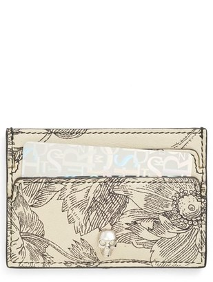 Women's Alexander Mcqueen Floral Sketch Leather Card Holder - Black $195 thestylecure.com
