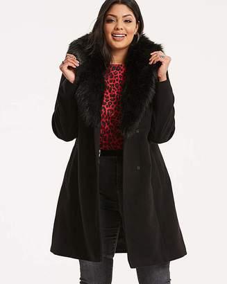 Fashion World Wool Coat with Fur Trim Lapel