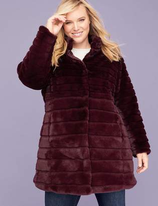 Lane Bryant Faux Fur Quilted Quilted Coat