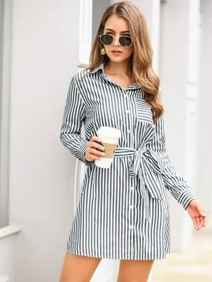 Shein Vertical-Striped Belted Shirt Dress