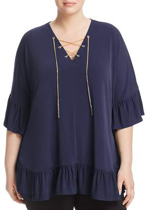 MICHAEL Michael Kors Chain Lace-Up Ruffle Top