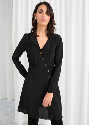 And other stories Asymmetric Button Up Wrap Dress