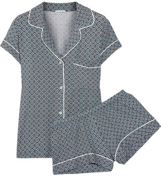 Eberjey - Sleep Chic Printed Jersey Pajama Set - Emerald $120 thestylecure.com