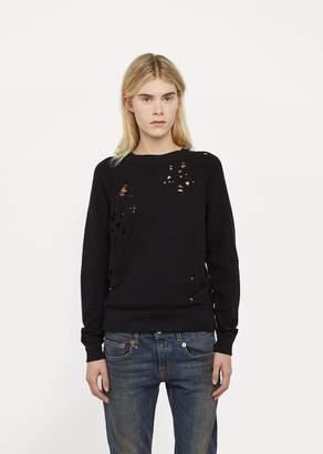 R 13 Shredded Zip Side Sweatshirt Black