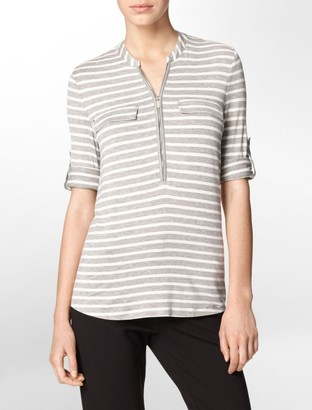 Calvin Klein striped partial zip front roll-up sleeve top