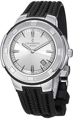 Charriol Men's 'Celtic' Swiss Quartz Stainless Steel and Rubber Casual Watch