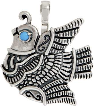 American West Sterling Silver Quail and Turquoise Pin/Pendant