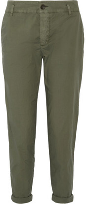 James Perse - Cropped Brushed Stretch-cotton Pants - Army green $225 thestylecure.com