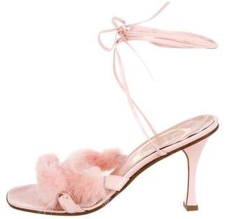 Rene Caovilla Mink Lace-Up Sandals