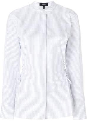 Theory pinstripe lace-up waist shirt