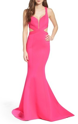 Women's La Femme Neoprene Mermaid Gown $418 thestylecure.com