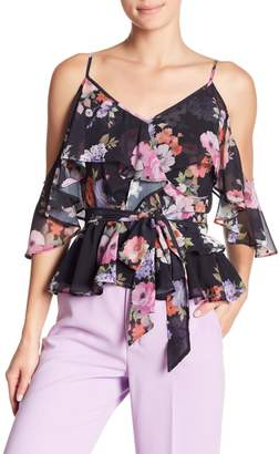 Yumi Kim Truth or Flare Floral Print Cold Shoulder Blouse