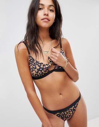 Maison Scotch Animal Print Bikini Top